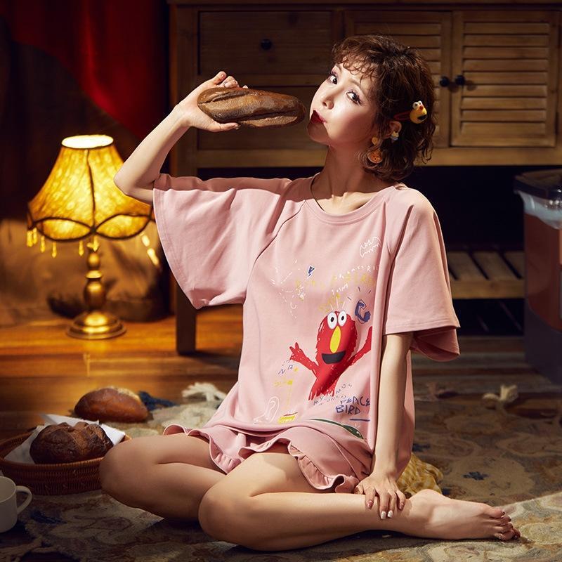 QV18F qczig Sommer Paar Pyjama Sommer reine koreanische Set Baumwolle Männer nettes Kleidung nach Hause nach Hause Kleidung stellt kurze Hülse Karikatur der Frauen für fit