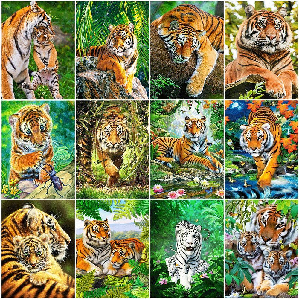Immerschimmer 5D DIY Diamant-Painting Tiger Strass Bilder Diamant-Stickerei Tier-Kreuz-Stich-Mosaik-Kunst-Ausgangsdekoration