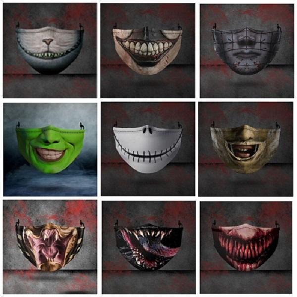 2020 Halloween Big Mouth Party de Noël drôle d'expression Protection Impression 3D réglable insérable Chip Band Ear poussière et masque Haze