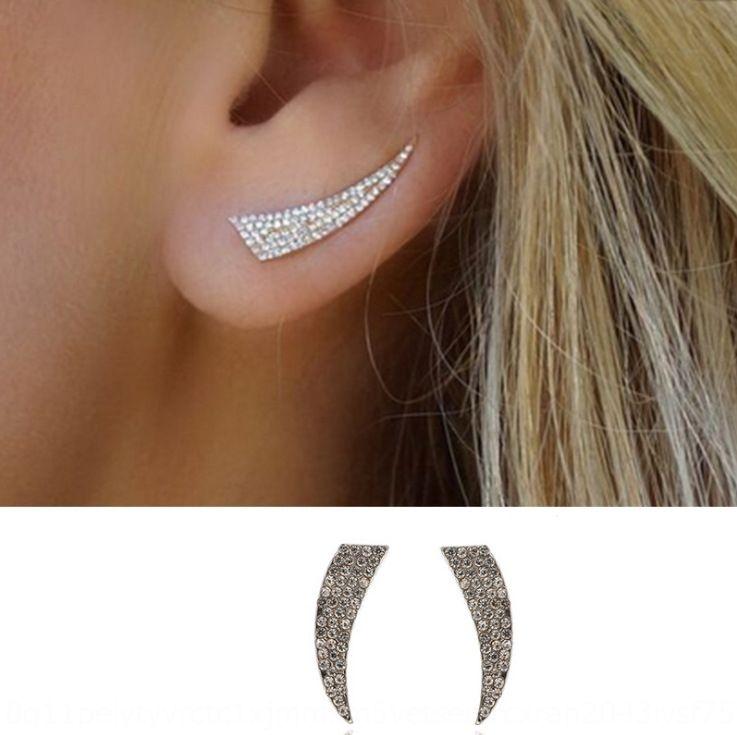 Simple fashion all-match and jewelry personalized design full diamond knife-shaped earrings fashion new earrings diamond geometric aXn8n