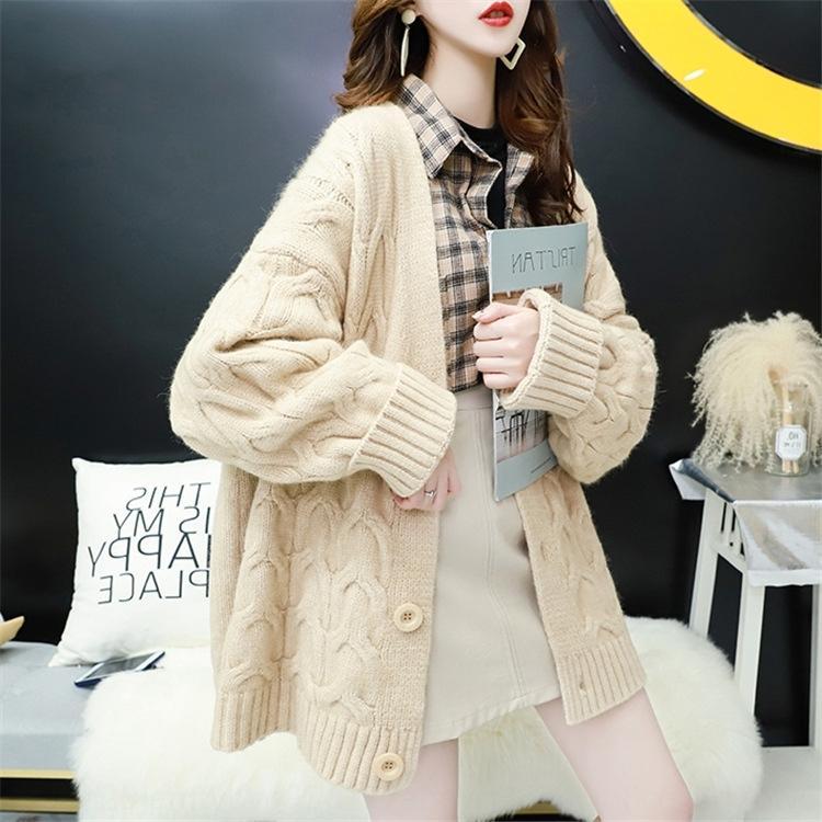 2020 осенью и зимой новое пальто свитера V-образным вырезом твист смешанный цвет нежный кардиган ленивый стиль вязаный свитер большого размера пальто для женщин ki2eD