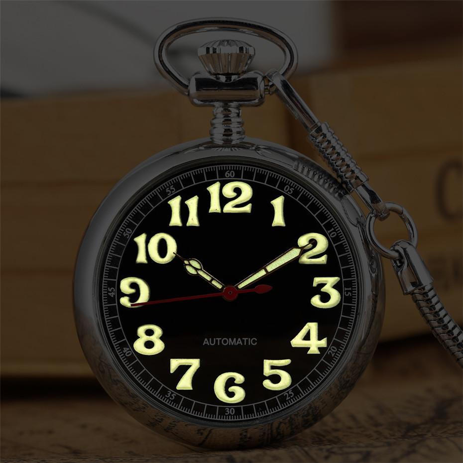 Luminous Anzeige der arabischen Ziffern Mechanische Selbst Winding Taschenuhr Exquisite Silber Retro-Anhänger Uhr mit 30 cm Fob Taschen CX200807