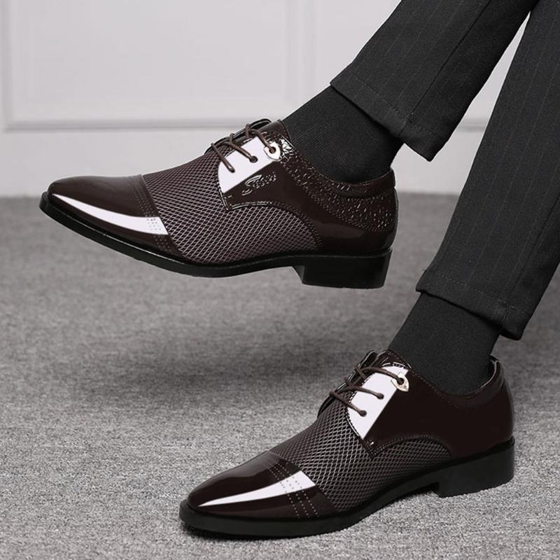 Homens Moda Outono Vestir Shoes clássico Qualidade pu couro Flats Masculino Formal sapatos Oxford vestido Negócios Lace Up Flats