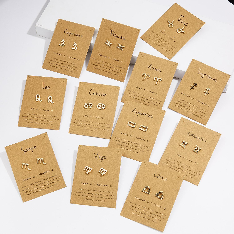 Europeu e Estados Unidos Moda Constellation Sign Stud Brinco Gold 12 Zodíaco Brincos Com Gift Card