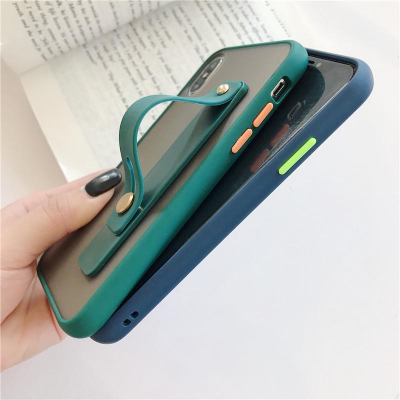 Matte Wristband cas pour l'iPhone 11 Pro Max 6 6s 7 8 Plus pour Samsung Galaxy S20 Ultra Note 10 pro A51 A71 S8 S9 S10 cas plus Funda