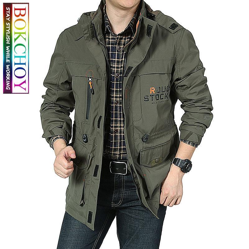 Bombardero chaqueta de los hombres del invierno del otoño Multi-bolsillo impermeable chaquetas militares tácticos capa ocasional rompevientos con capucha para hombre al aire libre