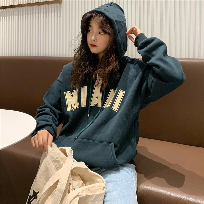 CVC cotton plus velvet 290g loose 19 autumn and winter New letter Top sweater printing hooded sweater women's top