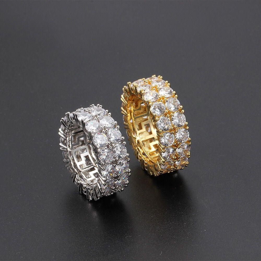 الهيب هوب مثلج خارج حلقة مايكرو مهد تشيكوسلوفاكيا حجر تنس الدائري الرجال النساء سحر مجوهرات فاخرة كريستال الزركون الماس الذهب بالفضة زفاف