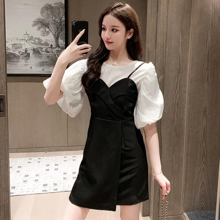SkJHF Qualität Hohe 4zcjf Sommer neue koreanische Schlinge Kleidung personalisierte Design Temperament Art dünnen + Blase kurzärmeliges Schlinge Kleid Kleid