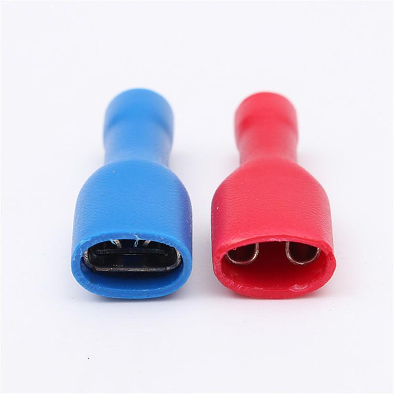 20/50 / 100Pcs Rouge + Bleu Femme isolé Spade COSSE fil connecteur pour câble 0.5-2.5mm fil électrique Connecors