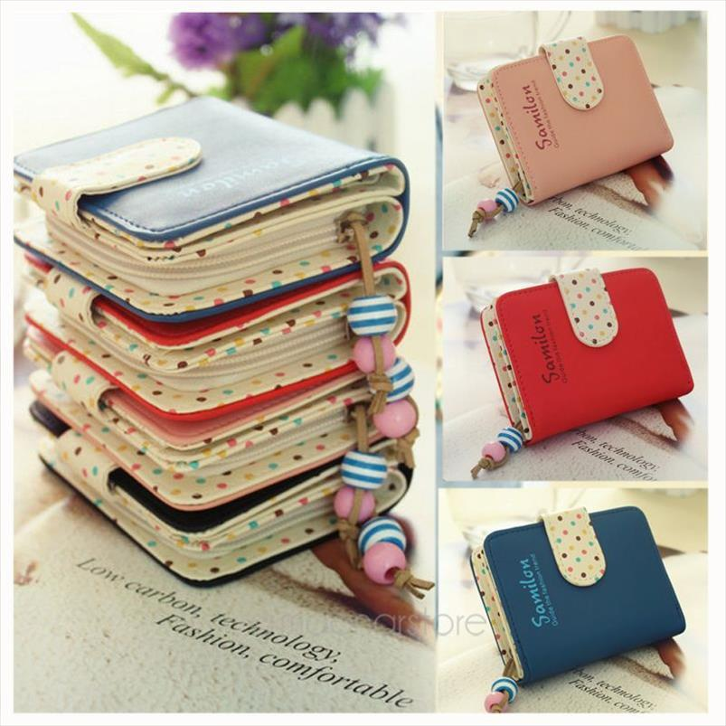Candy Purse Holder Polka Cards Zipper Leather PU Wallet Short Leather For Women Coin Cute Dots Purse Kawaii Girls Colors Hotkm