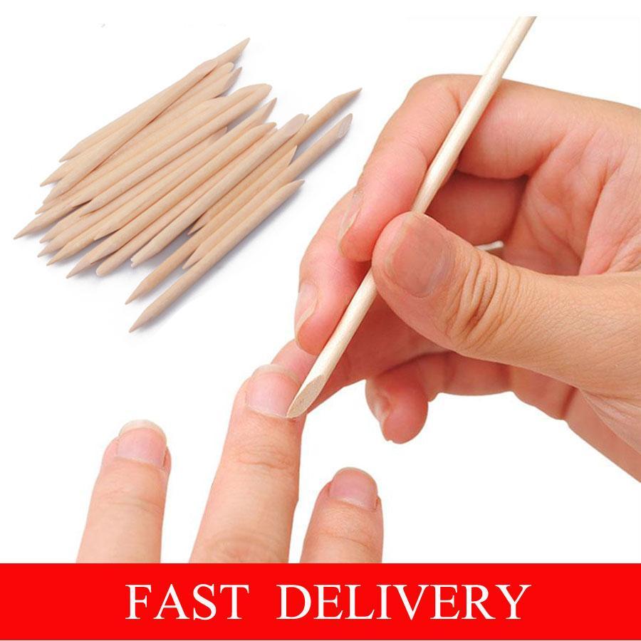 100pcs / bolsa de 75 mm de uñas de arte Orange palo de madera removedor de cutículas de uñas para manicura del arte del cuidado de la herramienta de envío gratuito