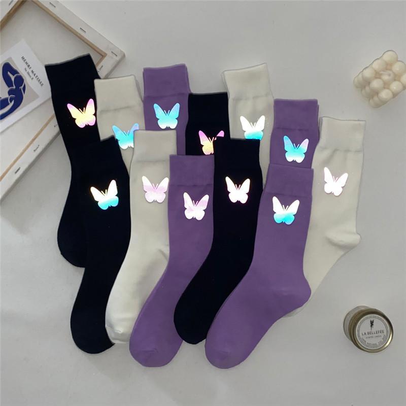 Красочные бабочки Светоотражающие носки Женщины Хлопок Чулки Hip Hop носки чулки сплошной цвет спортивные носки пробки