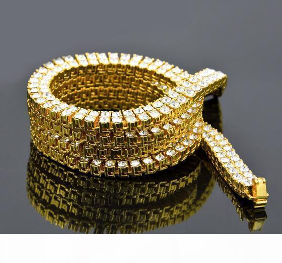 2 filas de hip hop collar de aleación de diamantes de imitación de 1 cm * 30 pulgadas blanco y negro de oro 3 hombres de color collar doble bling del collar de la venta del envío libre