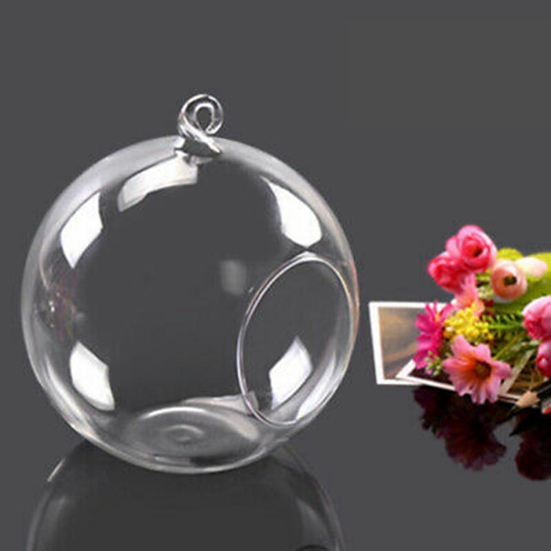 Castiçal de vidro Crystal Suporte De Vela de suspensão Bola de vidro Vaso de Flor Romantic Home Decoração do casamento 8cm / 10cm / 12 centímetros HHA1567