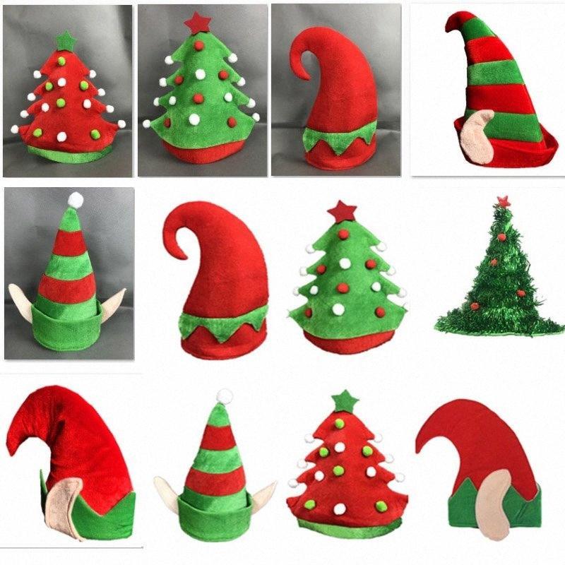 Новые рождественские шапки Теплый фланель Шапочки Шапочки для взрослых и детей Рождественская елка Костюм партии Hat украшения Подарки 7styles HH7 1840 Bas qNY2 #