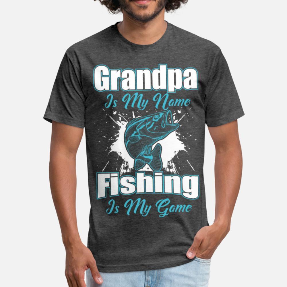 El abuelo es mi nombre de pesca es mi juego divertido de la camisa camisa de los hombres t crean 100% algodón Tamaño Euro camisa S-3XL regalo del traje cómico de primavera traje