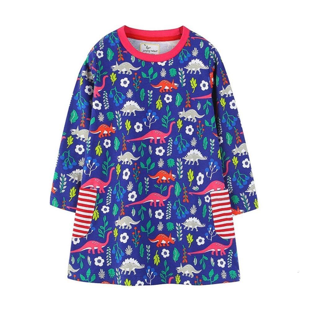Clearance New autumn Toddler Baby Girl Kids Autumn Clothes Long Sleeve Dinosaur Flower Tops T-Dress 0116