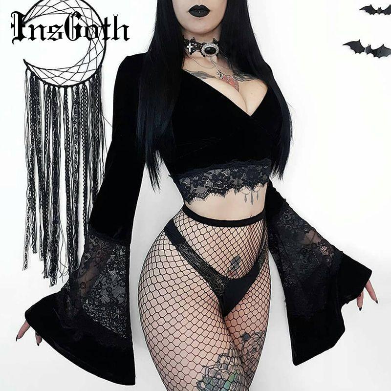 InsGoth Seksi Kadınlar Crop Top Flare Uzun Kollu Dantel Hollow Çıkan Siyah tişört Gotik Retro BODYCON Kadın V yaka zarif Üst T200814 Tops