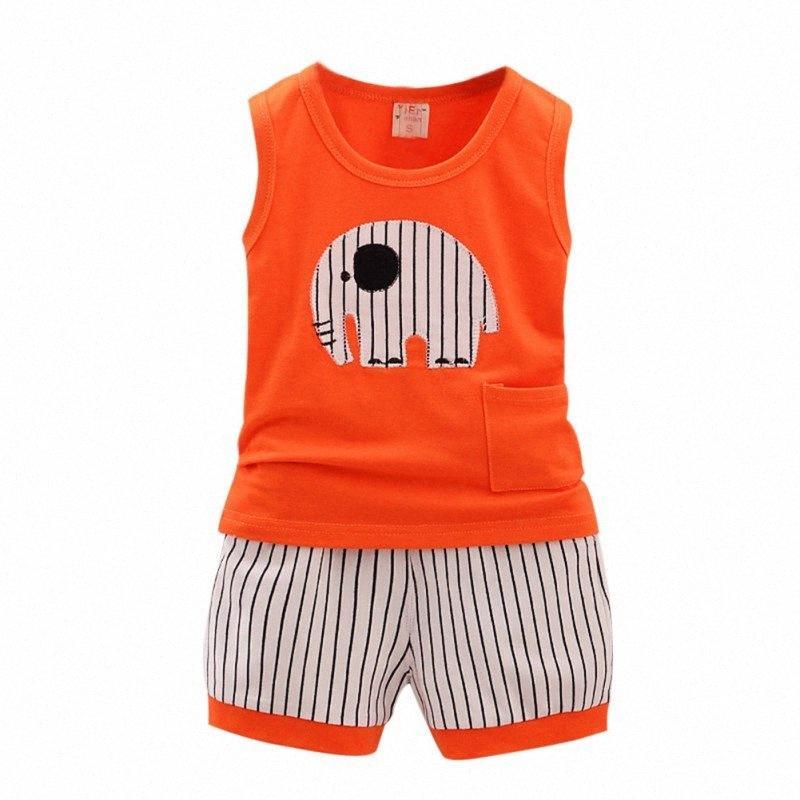 Wholesale- Hot Summer Kid Baumwolle Karikatur-Baby-Jungen-Mädchen-Weste + Stripe Shorts 2 PC Kinder Kleidung Set 1-5Y JiW4 #