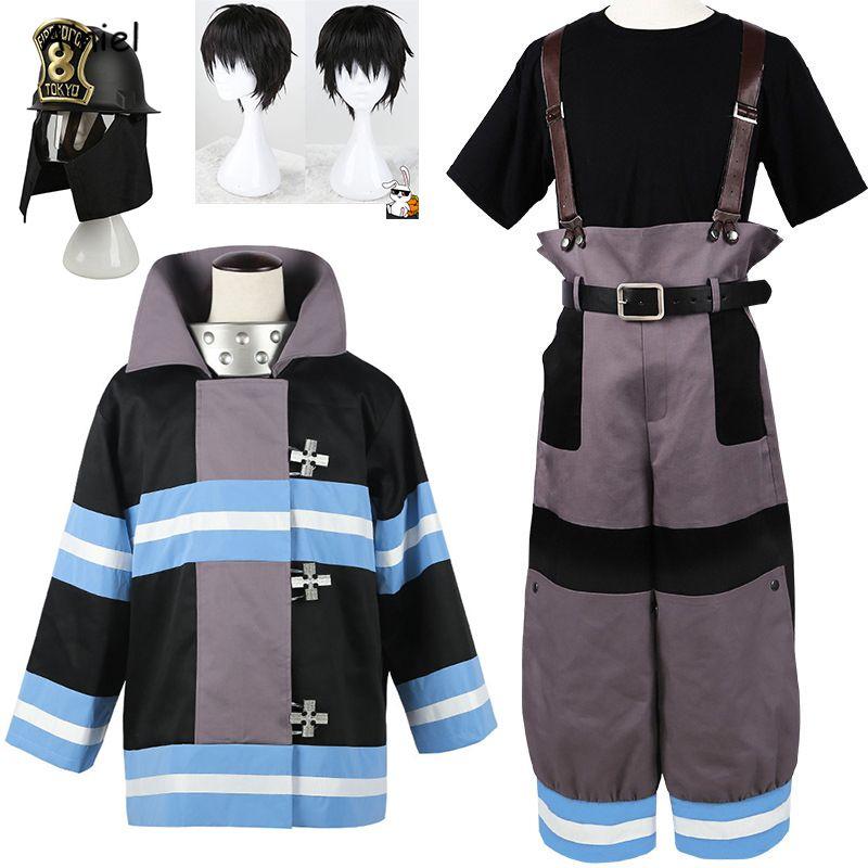 Anime Shinra Kusakabe Costume Coat Pantaloni s Fuoco Forza Cosplay Enen nessun uomo Shouboutai Vigili del Fuoco Asa Boiru uniformi Ragazzi