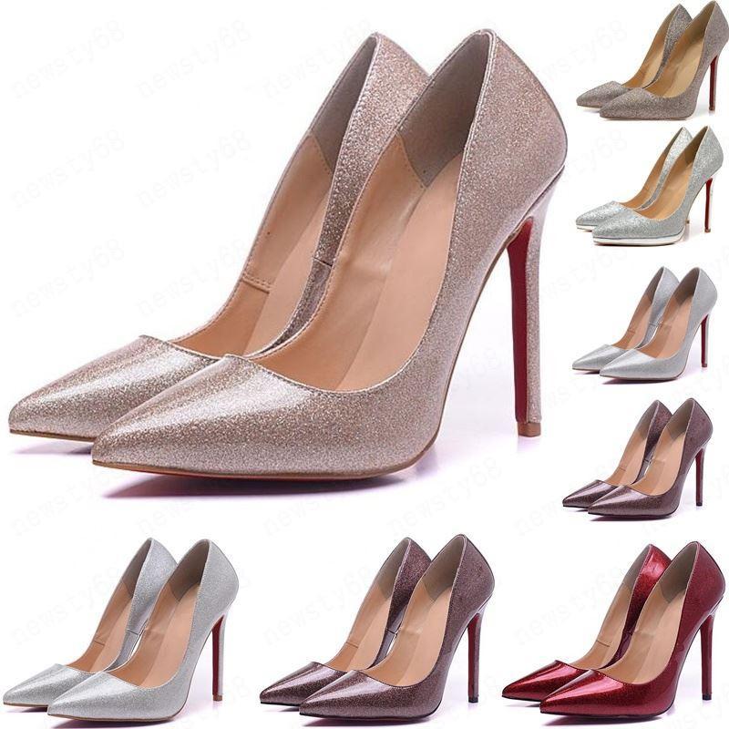 hot 2020 Così Kate Stili 8cm 10cm 12cm alti calza inferiore rossa vera pelle nuda Color Point Toe Pumps gomma Formato 35-45