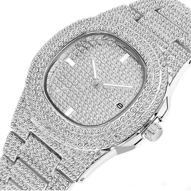 Hip Hop Iced Out Gold Color Watch Quarzo Luxury Full Diamond Diamond Orologi da polso da uomo in acciaio inox Dono da polso