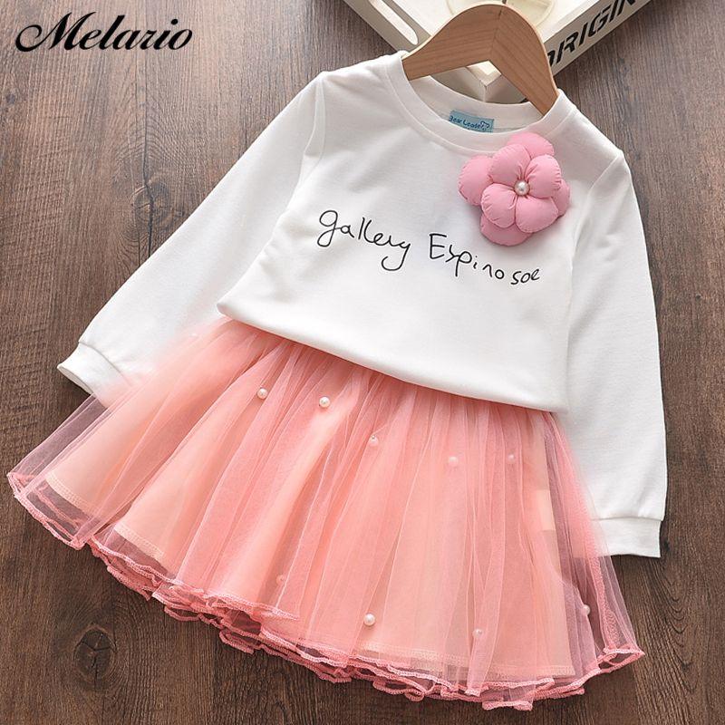 Melario Kız Giyim Yeni Sonbahar Harf Baskı Tops ve Etek Suit Mesh Kız Çocuk Giyim Setleri Sevimli İki adet Suit Kıyafetler