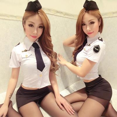 cubiertas de la cadera enlace dedicado 8042 de la ropa interior atractiva atractiva de la azafata de la policía femenina corta de la ropa interior de la falda corta falda uniforme de marinero traje de estudiante Un