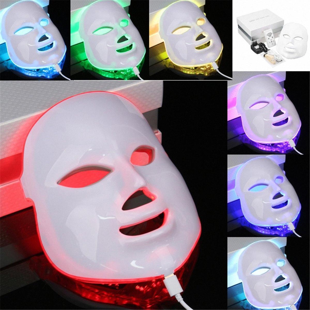 De 7 colores de luz LED de fotones sistema de terapia de la piel Máscara facial cuidado de la belleza de la cara LED máscara de la piel cuidado de la belleza Máscara # vr4K