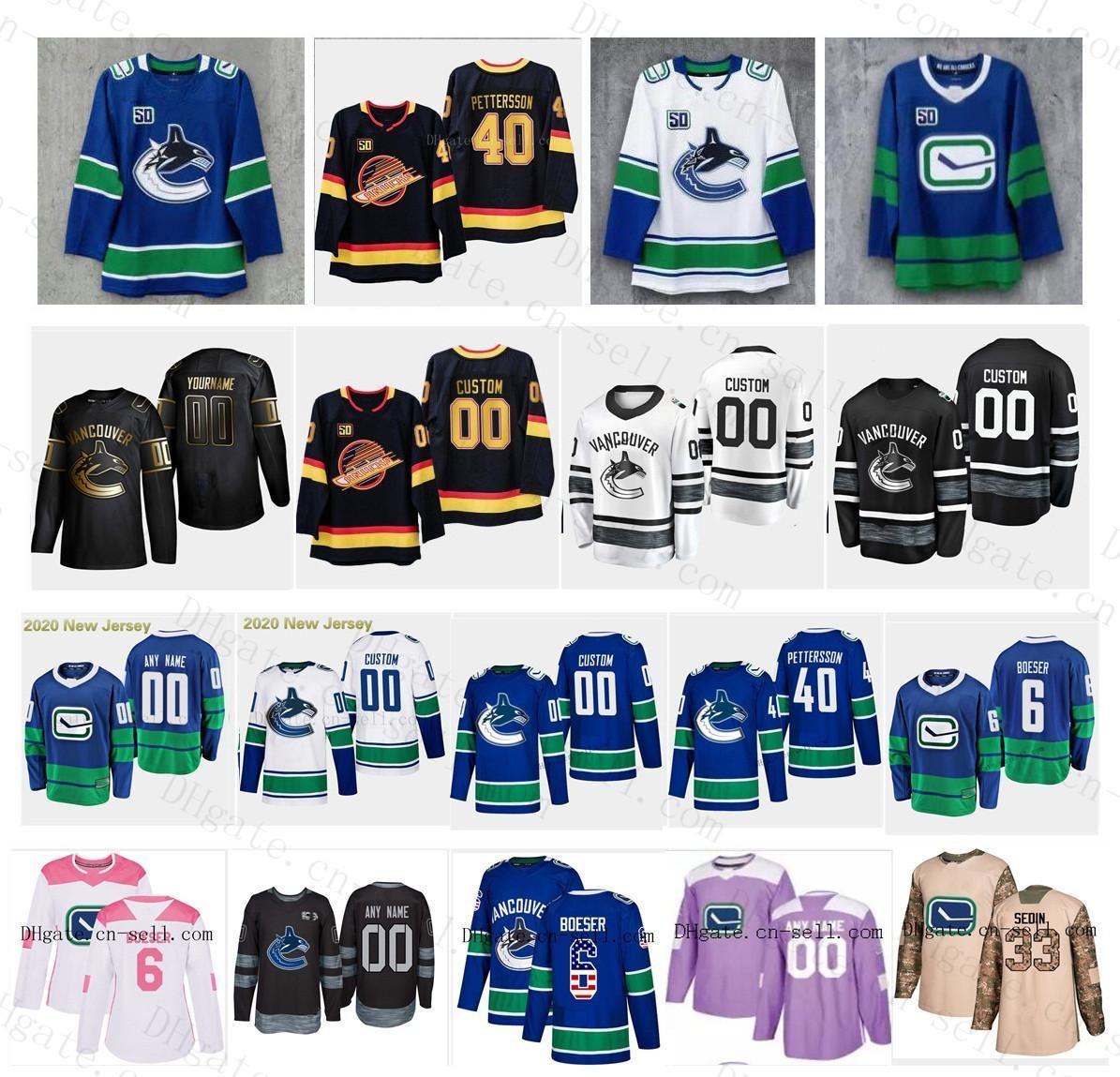 40 Elias Pettersson 50th Season Patch Custom S-6XL Vancouver Canucks 6 Brock Boeser 18 Jake Virtanen Henrik Sedin Bo Horvat Hockey Jersey