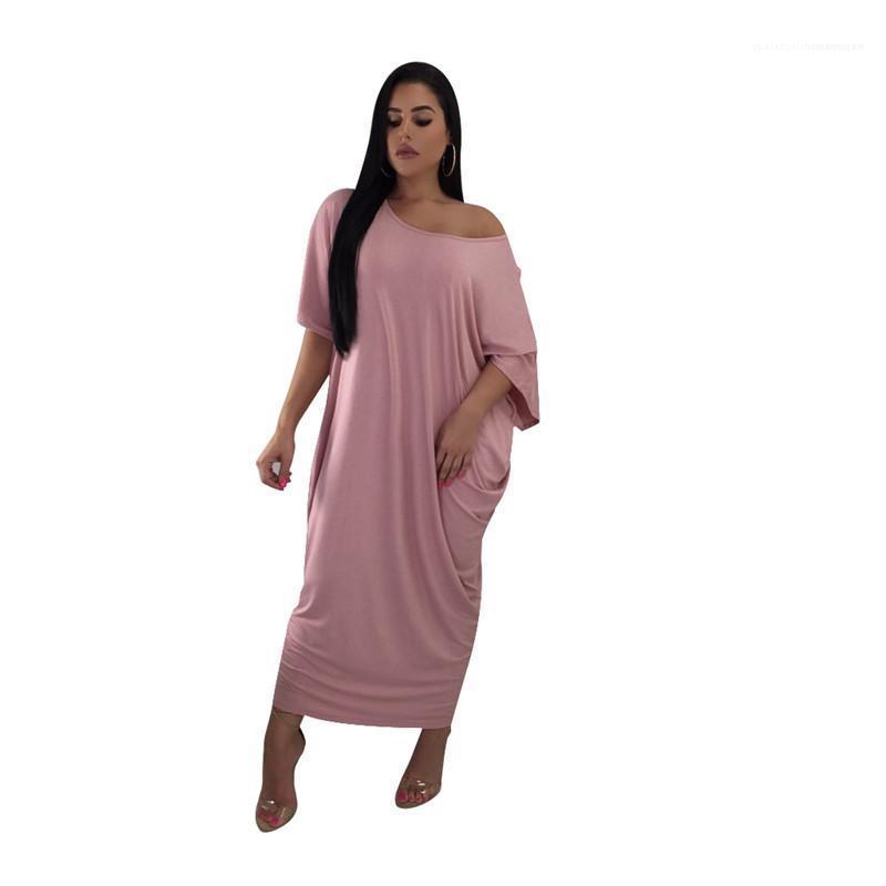 Vestito allentato vestiti delle donne estate delle donne Abiti Moda fuori dalla spalla Dress Natural Color manica corta casuale