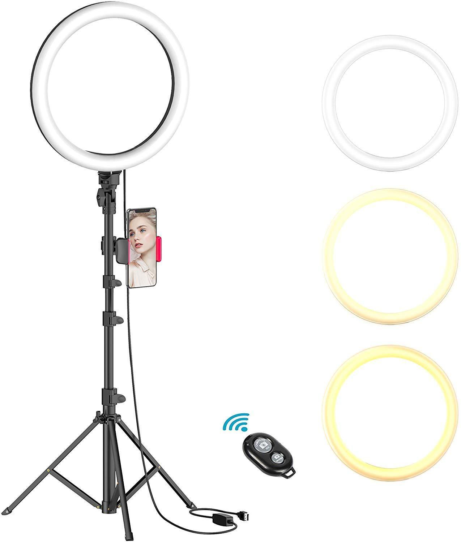 """البعيد 10 """"ضوء حلقة مع حامل حامل ترايبود عكس الضوء selfie الدائري ضوء الصمام الكاميرا ringlight مع حامل الهاتف لتيار لايف / ماكياج / فيديو"""