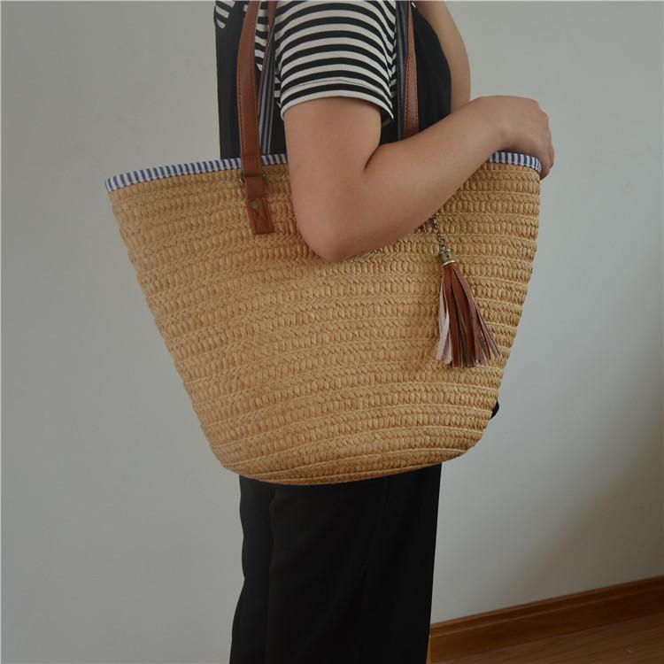 Women Rattan Handbags Summer Beach Straw Bags Wicker Woven Tote Bucket Large bag