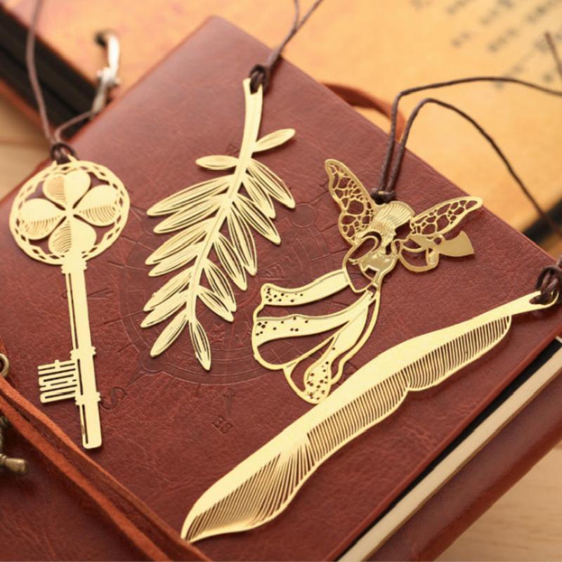 1pc Material de Oficina Escuela Marcos estudiante de la clásica libro Página creativa linda lable del metal del oro Marca estilo chino