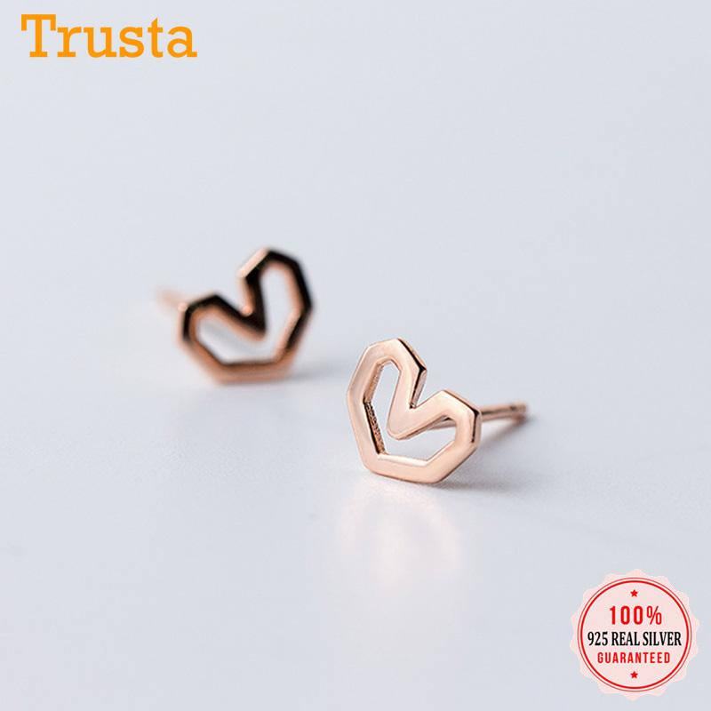 TrustDavis autêntico 925 esterlina prata moda bonito minúsculo oco nice coração brincos para mulheres casamento jóias presente ds194