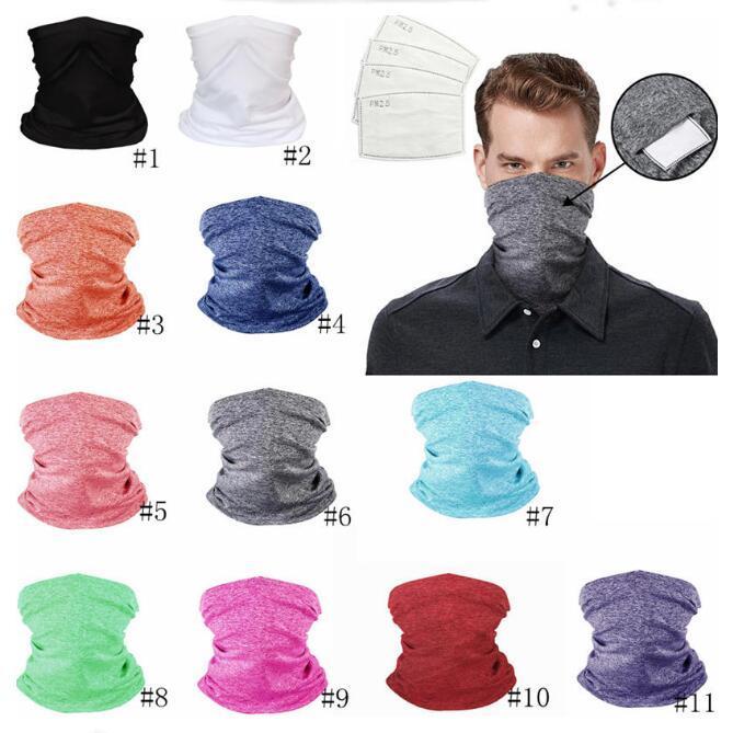 Radfahren Masken magischer Schal Bandanas Multifunktionsbreathable Kragen-Kopf-Hals-Verpackungs-Neck Gaiter Schal mit PM 2.5 Filtermasken DWC1122