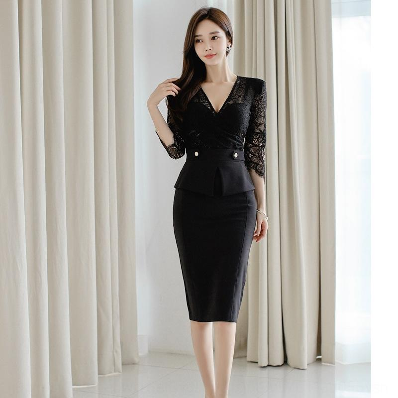 Business suit for women 2020 new fashion elegant elegant slimming lace lace top work clothes skirt OL two-piece set FIiFu