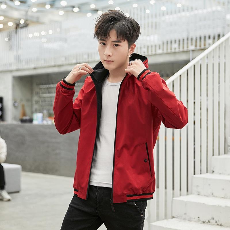 8232-весна 2019 большая куртка мужской молодежной Корейских пригонки куртка нового размер капюшон мода Hp1Fm