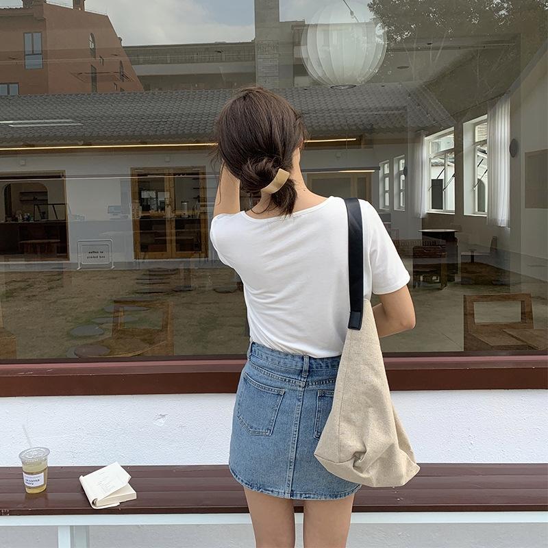 cb5On [Huang Lian] base lavé printemps des femmes de haute taille 2020 et l'été style coréen casual robe de ligne A-jupe denim Denim Q7210 Robe sk