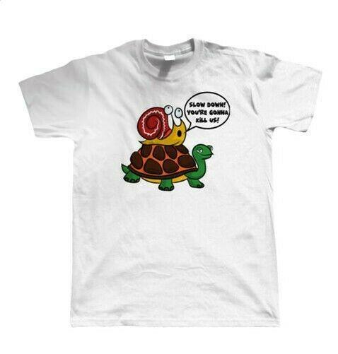Snail Tortoise Mens T engraçado dos desenhos animados camiseta, presente para ele Dad Artista Convidado JG