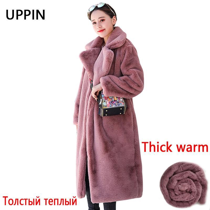 Escudo largo invierno de la piel de las mujeres de alta calidad de imitación de piel de conejo Escudo de lujo flojo de la solapa de grueso abrigo caliente femenino de la talla felpa Coats 200921