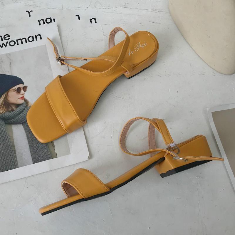 2020 Sommer-Sandelholz-Fisch-Mund-Frauen-Sandelholz-PU-Absatz-Platz Heel Frau Buckle Schuhe Größe 35-39 2020