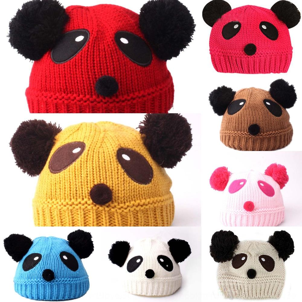 Autumn and Winter Children's wool cartoon panda ear protection baby infant cute pullover Pullover knitted with earflaps knitted hat hat G3U7