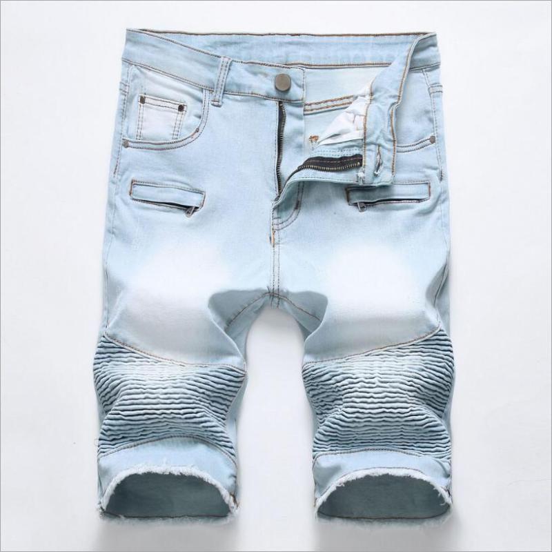 La luz azul ponen en cortocircuito verano plisada pantalones cortos de mezclilla de alta calidad de los hombres del estiramiento del algodón Jean Pantalones cortos de los nuevos hombres de la cremallera Casual Jeans