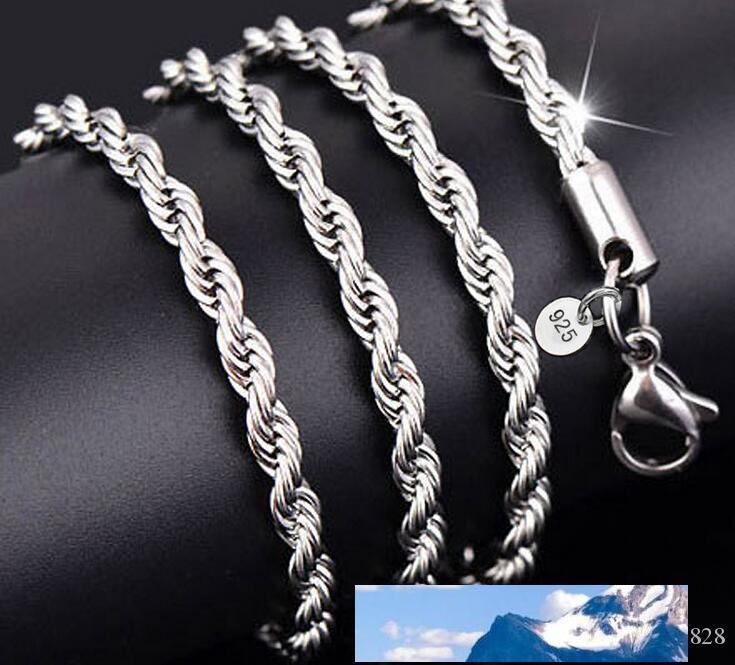 Nuove catene 925 Catene Collana d'Argento 3MM 16-30 pollici abbastanza sveglio corda collana catena di modo di fascino