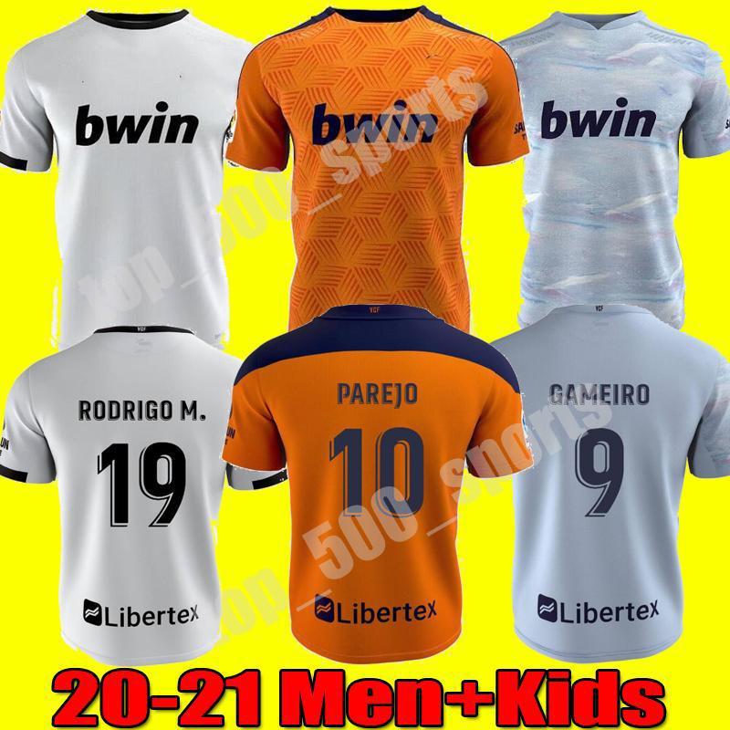 Homens Crianças 20 21 Valencia CF Futebol Jerseys Rodrigo 20 21 PAREJO GAMEIRO FUTEBAL CAMISA GUEDES C.SOLER CAMISETA DE FUTBOL uniformes