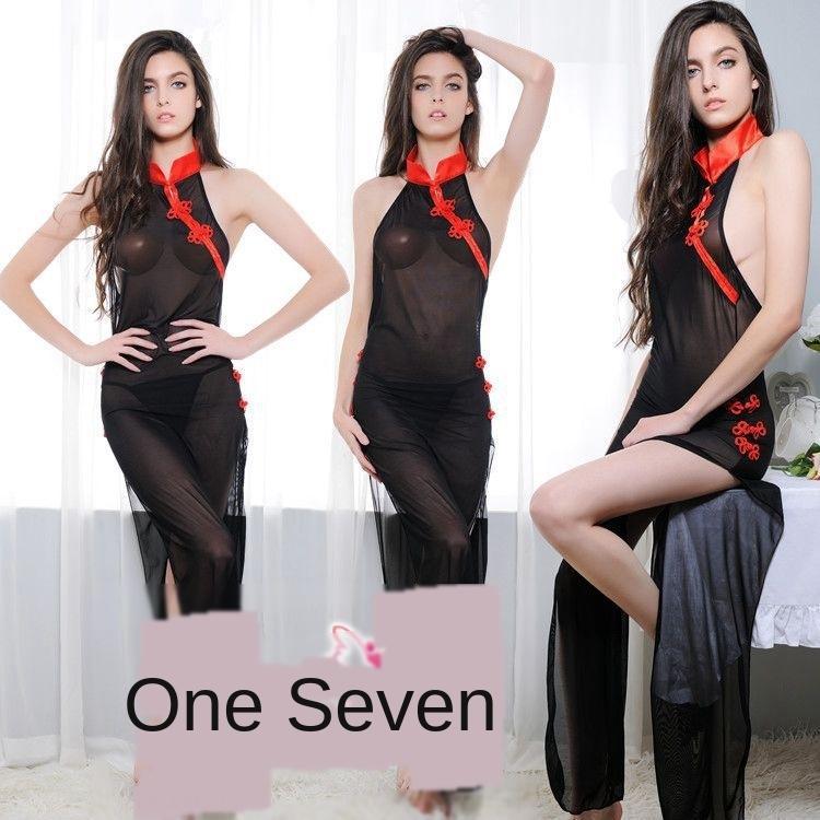 ba0zo Beauté sous-vêtements sexy maille point de vue style chinois tentation Sous-vêtements cheongsam femmes sexy cheongsam tentation 701 backless