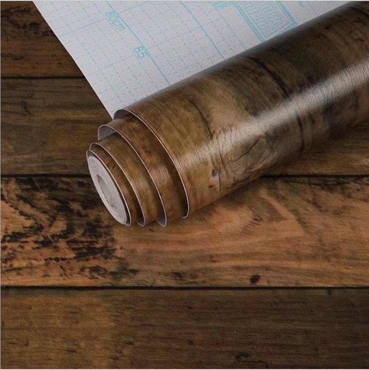 wood Self-adhesive Sticker Waterproof PVC Wallpaper Furniture Renovation Stickers Home Decor Film vhI4#