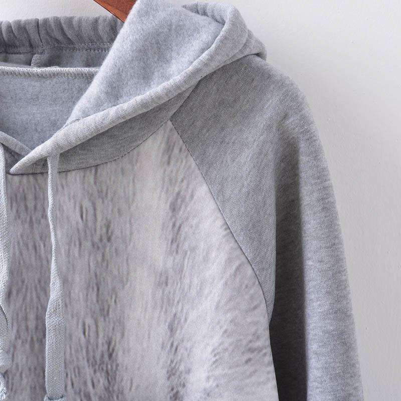 MH3Cv Nova colorido gato camisola das mulheres impresso camisola de lã lã olho solta com capuz de lã casuais